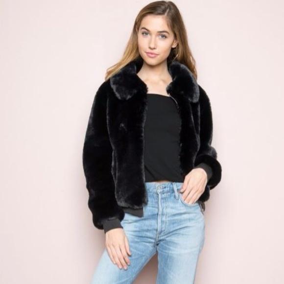 d1bdbe08d Brandy Melville Black Fur Bomber Jacket
